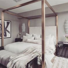 Such a chic bedroom! Love the rose gold bed frame! Credit: unknown, please DM for full credit!