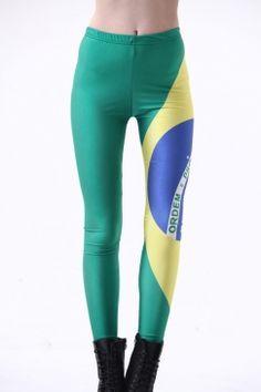 dcfa2fe66bad Green Sexy #Women's #Fashion Crazy Brazil Flag Printed World Cup #Leggings  Pink Leggings