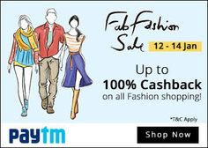 aytm online store has back again with another fashion sale called Paytm Fab Fashion Sale. It seems that Paytm is really good great job to provide the best fashion and life style products to it's users.  It has started on  12th January 2016 and going to end on 14th January 2016.