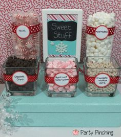 hot chocolate bar would be perfect for a Christmas party! I think in mine I will put candy cane crumbles, soft peppermint sticks, chocolate chips, marshmallows, heath bits, white chocolate chips, and of course whipped cream! Nilla wafers might be nice on the side too...