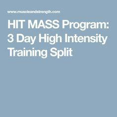 HIT MASS Program: 3 Day High Intensity Training Split