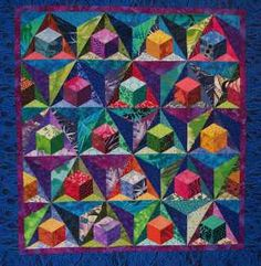 cubesblue.jpg Sondra Hassan Quilts in Color.