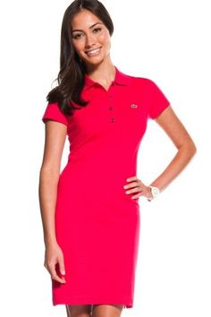 Lacoste Short Sleeve Stretch Pique Classic Polo Dress : Dresses