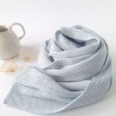 Wooden Stribes Scarf Ice Blue. From a collection of fine soft basic knitwear made on hand driven knitting machines from the 1950s-1970s.