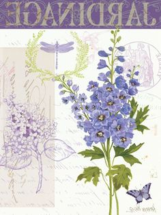blue delphinium and friend Flower Images, Flower Art, Vintage Prints, Vintage Art, Ephemeral Art, Decoupage Printables, Illustration Blume, Vintage Drawing, Decoupage Vintage