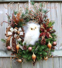 XL Copper Brown Ivory Woodland Owl Christmas, Rustic Winter Owl Wreath, by IrishGirlsWreaths
