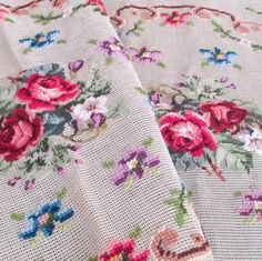 2 Vintage Pre-Worked NEEDLEPOINT Petit Point Mesh Panels ROSES Violets + Flowers