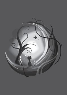 KD- Cat on the moon Art Print- MY ULTIMATE TATTOO!!!! Add a few more roots, delete black figure 8 on rt side and butterfly, incorporate acorn in tree.