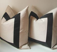 SALE - Set of Two - Black Ribbon Pillow Covers - 19 inch - Black Ribbon embellishment - euro sham - ready to ship Accent Pillows, Throw Pillows, Linen Curtains, Drapery, Scatter Cushions, Perfect Pillow, Black Ribbon, Interior Exterior, Decorative Pillow Covers