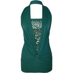 Hilary Sequin Detail Halter Neck Top ($17) ❤ liked on Polyvore featuring tops, teal, green tube top, tube top, ruched halter top, teal tops and special occasion tops