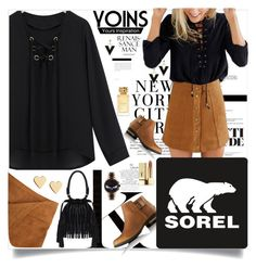 """""""Yoins : khaki & black"""" by loveyoins ❤ liked on Polyvore featuring SOREL, Tory Burch, Yves Saint Laurent, Lipsy and Fendi"""
