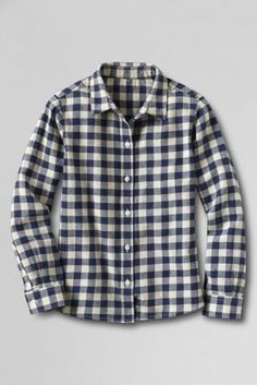 Girls' Long Sleeve Flannel Shirt from Lands' End