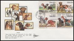 2101a / 20c Dogs Se-Tenant Block Gill Craft 1984 First Day Cover Mans Best Friend, Best Friends, First Day Covers, Dog Years, One Day, Stamp Collecting, Postage Stamps, Envelopes, Postcards