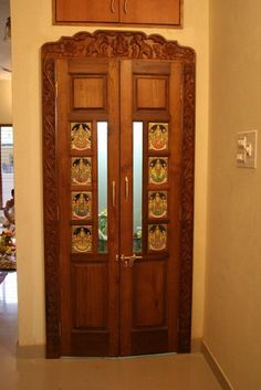 Make all your visitors amazed with these latest pooja door glass designs. Let the door of your pooja room reflect your personality. Single Door Design, Front Door Design Wood, Double Door Design, Wooden Door Design, Main Door Design, Wall Design, Pooja Room Door Design, Door Design Interior, Room Interior