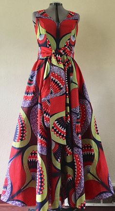 Spice Flower Fall African Wax Sleeveless Maxi Dress With African Print Dresses, African Print Fashion, African Fashion Dresses, African Dress, African Prints, African Attire, African Wear, Ankara Dress, Special Dresses