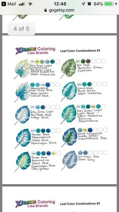 Leaf Color Combos # 3 from Extreme Coloring Prismacolor, Copics, Derwent Inktense, Colored Pencil Tutorial, Colored Pencil Techniques, Coloring Tips, Leaf Coloring, Colouring Techniques, Drawing Techniques