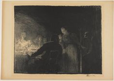 La visiteuse (The Visitor)    Albert Besnard  (France, Europe), 1893  Lithograph with scraping out  14 1/8 x 18 1/8 in. (35.88 x 46.04 cm) (image)