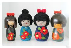CHD: Amigurumi Japanese Kokeshi Dolls Crochet Patterns