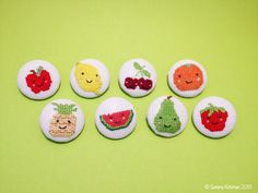 Happy Fruit - friendly cross stitch fabric covered buttons, brooches, magnets and badges.