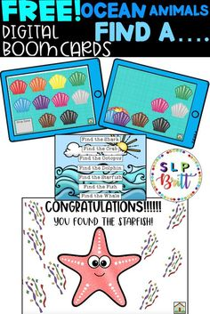 FREE! OCEAN ANIMALS, FIND THE…… DIGITAL BOOM CARDS (AAC, PICTURE EXCHANGE, SPEECH THERAPY). Great for distance learning!. Great for vocabulary, colors, answering questions, sentence structure, requesting, expressive & receptive language, articulation, & speech. #speechtherapy #speechtherapyactivities #languagetherapy #teacherspayteachers #slpbritt #slpsontpt
