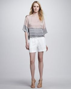 Gia Boat Neck Top & Abbey Shorts by Milly at Neiman Marcus.