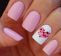 Nail art is a very popular trend these days and every woman you meet seems to have beautiful nails. It used to be that women would just go get a manicure or pedicure to get their nails trimmed and shaped with just a few coats of plain nail polish. Love Nails, How To Do Nails, Dot Nail Designs, Nails Design, Heart Nail Designs, Pedicure Designs, Nail Designs With Hearts, Easy Nail Art Designs, Easy Diy Nail Art