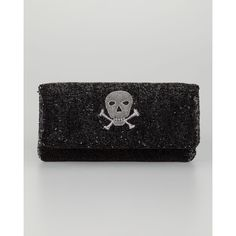 Moyna Skull Beaded Fold-Over Clutch Bag, Black found on Polyvore