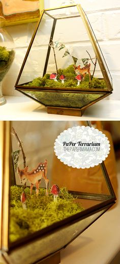 Paper Terrarium w/free Doe A Deer printout to use in your very own creation
