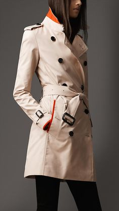 Burberry - MID-LENGTH COTTON BLEND PIPED DETAIL TRENCH COAT