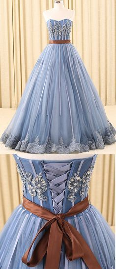 A-line Prom Gown,Sweetheart Prom Dresses,Floor-Length Prom Dress,Tulle Prom Dresses,Blue Prom Dresses With Beading #blue #aline #long #prom #dress #appliques #okdresses