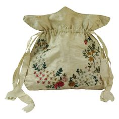 Antique English Regency Reticule, Workbag, Purse -  Silk Ribbon Work 1810 from Trinity Antiques at RubyLane.com