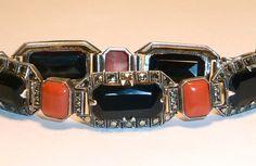 Art Deco Theodor Fahrner Coral Onyx Sterling Bracelet Signed