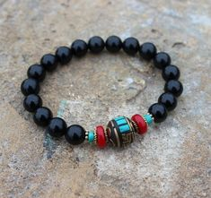 Black Agate Turquoise Red Coral bracelet Good luck fortune Protection Evil eye Calming Strength Cour