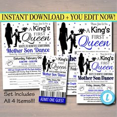 EDITABLE Mother Son Dance Set School Dance Flyer Party Invitation, A King's First Queen, Church Community Event, Pto, Pta, INSTANT DOWNLOAD Daddy Daughter Dance, Mommy And Son, Father Daughter Dance, Mother Daughters, Invitation Text, Printable Invitations, Party Invitations, Printables, Dance Themes