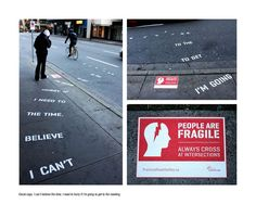 Guerilla marketing for safe street crossing.