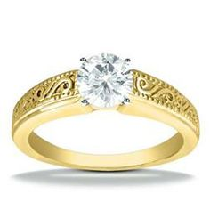 18K Yellow Gold Vintage Style Engagement Ring Adair Jewelers ::