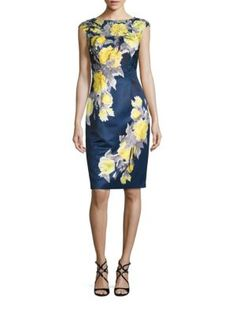 KAY UNGER Lace Applique Satin Sheath Dress. #kayunger #cloth #dress