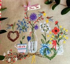 Spring bird pattern featuring some lovely flowers. Recommended fabric: Zweigart Edinburgh - Natural Recommended threads: DMC - & Stitch Count: x Cross Stitch Designs, Cross Stitch Patterns, Spring Birds, Easter Cross, Bird Patterns, Dear Santa, Cross Stitching, Tapestry, Embroidery