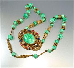 Art Deco Czech Necklace Green Peking Glass Bead by boylerpf, $145.00