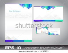 Corporate identity set or kit for your business including Business Card, Envelope and Letter templates. Vector format, editable, place for text