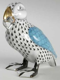 Herend Hand Painted Porcelain Figurine ofPuffin w Fish in Beak, Both in Black Fishnet Design, Gold Accents.