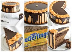 Bolo/Cheesecake de Butterfinger com Chocolate// P/ o cheesecake = 1/4 xícara / 50g de açúcar granulado- 150g(pacote) de cream cheese(queijo cremoso), amolecida- 1 lata(397g) de leite condensado (leite não evaporado)- 290g  ou (1 e 2/3 xc.)de. meio amargo chips de chocolate, derretida- 4 ovos, temperatura ambiente- 2 colheres de chá de essência de baunilha- 10 mini-bares Butterfinger finamente picado / total de cerca de 200g(veja foto)