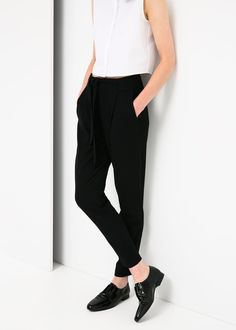 Bow crepe trousers