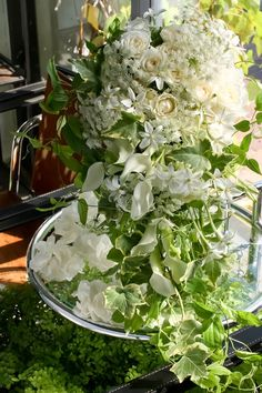 White and green - floral art.