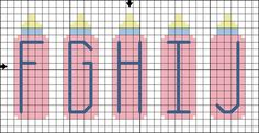 Free Baby Bottle Alphabet - Free Baby-Themed Cross Stitch Pattern: Free Baby Bottle Alphabet Cross Stitch Pattern - Letters F to J