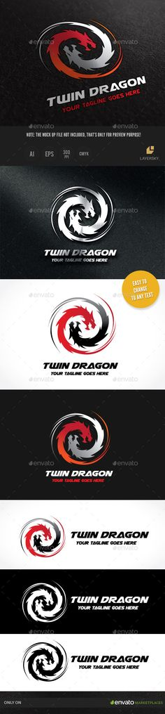 Dragon Twin — Vector EPS #asian #water • Available here → https://graphicriver.net/item/dragon-twin-/10015406?ref=pxcr