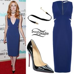 Katherine McNamara attended the 7th Annual Thirst Gala wearing an Alice + Olivia Riki Midi Dress ($119.00 – wrong color), an Urban Outfitters Claire Velvet Choker Necklace ($14.00) and Christian Louboutin So Kate Pumps ($675.00). You can find similar pumps for less at GoJane ($33.80).