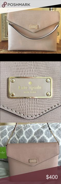 Kate Spade A La Vita Exotic Leena NWT Brand new with tags attached, never worn and sold out Kate Spade embossed leather shoulder bag. Chic, retro, structured, and perfect medium size with a luxe gold chain strap. Color is a neutral taupe with lavender undertones - seasonless and will match your wardrobe. Magnetic envelope-style flap closure with a zip pocket and 2 pouches inside. Easily fits an iPad and more. Definitely a higher end Kate Spade item. Retails for $498. Decided to let this baby…