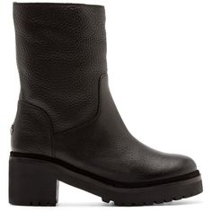 Moncler Black Leather Cassandre Boots (2.096.520 COP) ❤ liked on Polyvore featuring shoes, boots, mid-calf boots, real leather boots, genuine leather boots, leather shoes and black mid calf boots