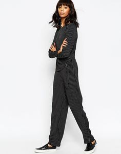 Image 4 ofASOS Stripe Jumpsuit With D-Ring Wrap Over Layer